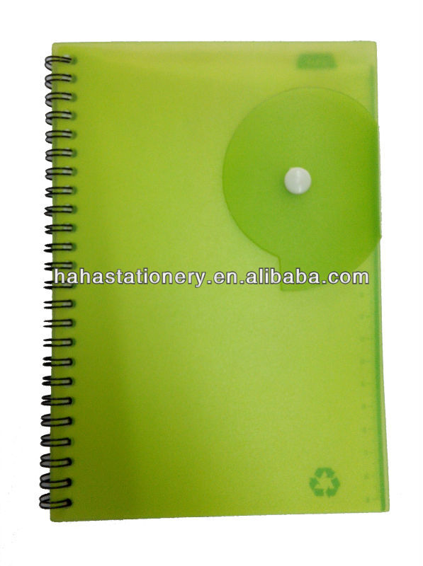 50 sheets die cut green paper spiral binding pp notebook with pen