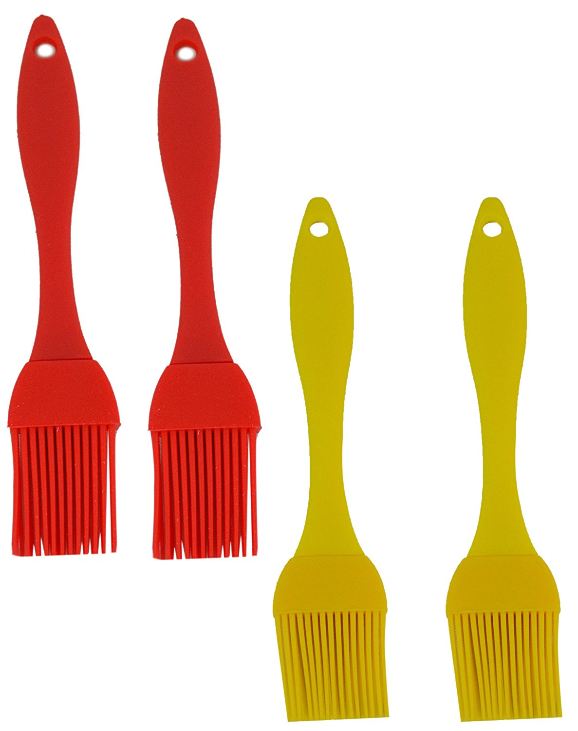 """Grill Time BBQ Grilling Silicone 8"""" and 7"""" Basting Brushes 4-Pack. Heat-Resistant FDA-Approved BPA-Free Barbecue Brushes ready to spread the love across your favorite grilled foods"""