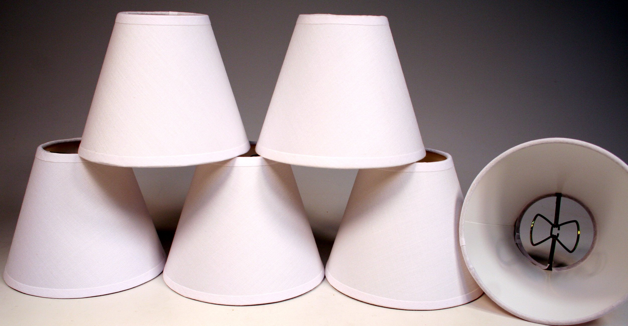 Creative Hobbies Small 4 Inch, Cream Color Linen Fabric Lamp Shades for Chandeliers, Sconces, Window Candles, Clip onto Small Teardrop Shaped Candelabra Bulbs, (Pack of 6 Shades)