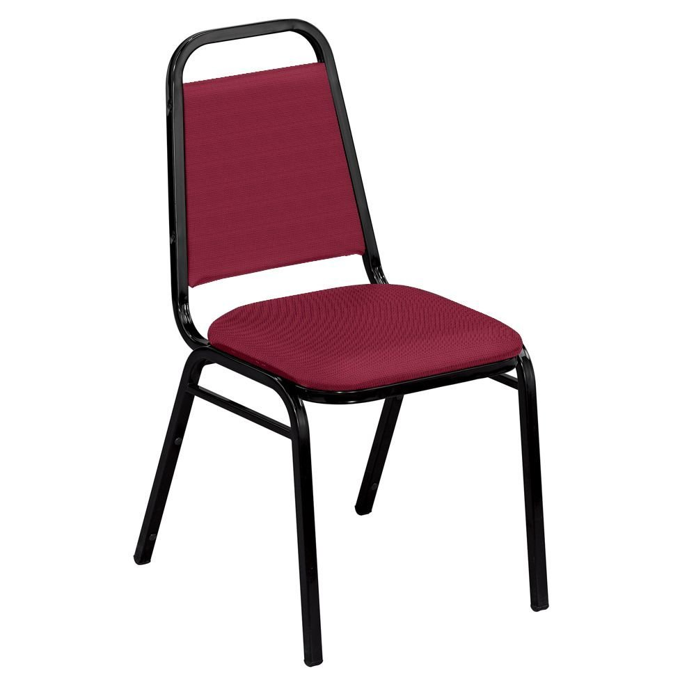 """Square Back Fabric Stack Chair with 1-1/2"""" Seat Dimensions 17.5""""W x 22""""D x 33""""H Seat Dimensions 16""""Wx16""""Dx17.5""""H Back Dimensions 12.25""""Wx12.25""""H Weight 15 lbs - IM Burgundy Fabric/Black Frame"""