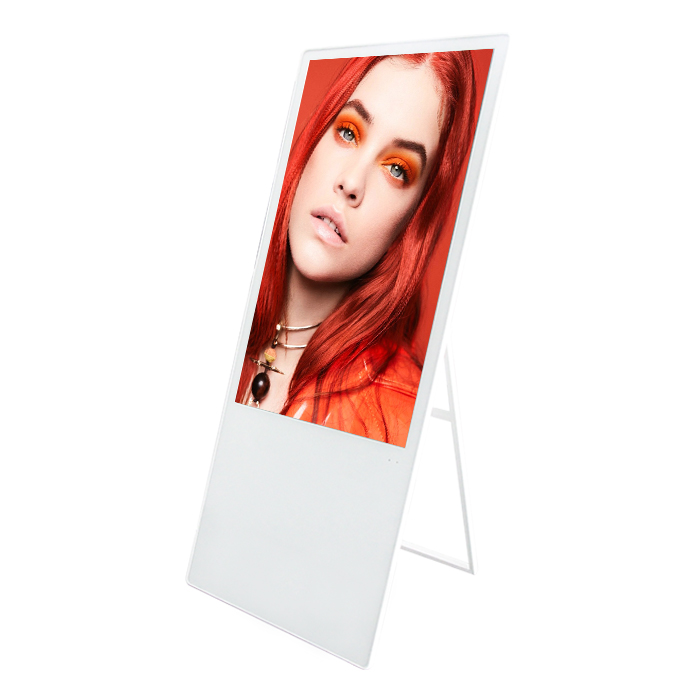 Warna Putih Berdiri Bebas 43 Inch Portable Digital Sigange, Floor Standing Poster Display