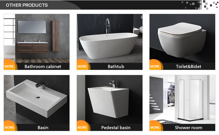 European Simple Design Solid Surface Artificial Stone Bathroom Bathtub