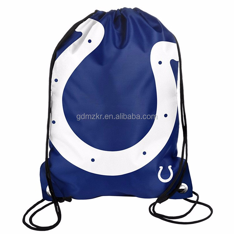 Promotional waterproof drawstring backpack nylon polyster foldable shopping bag with custom logo