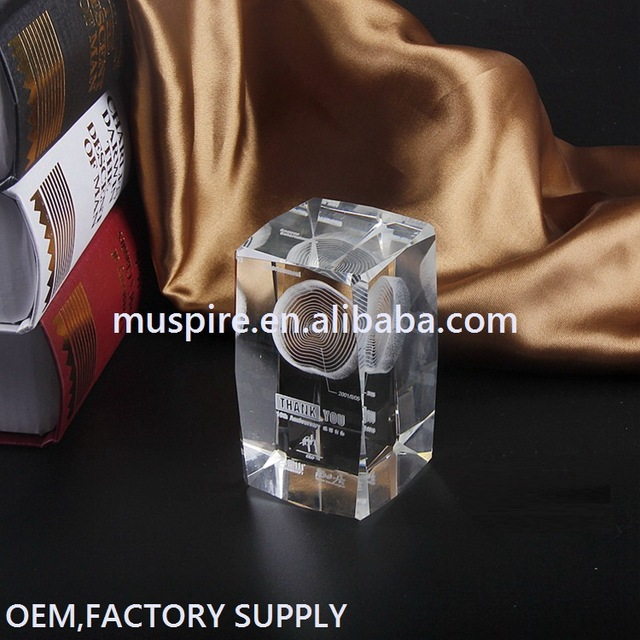 Top quality low price crystal plaque block with logo engraved