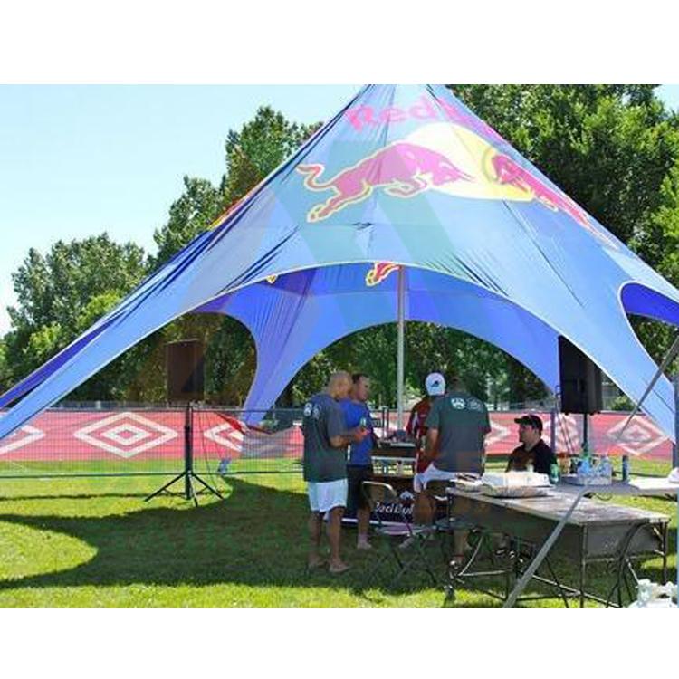 Cep kırmızı boğa ekran yıldız çadır açık olay ticaret fuarı expo çadırı