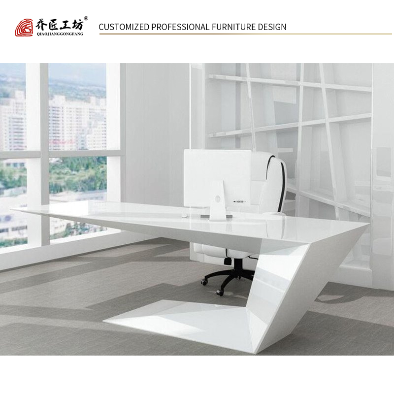 China Manufacture Customized Simple Manager Office Table Modern Furniture In White