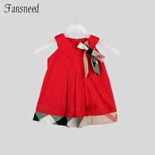 2016 European style summer children s clothing girl Lattice dress Round neck grid bow princess children