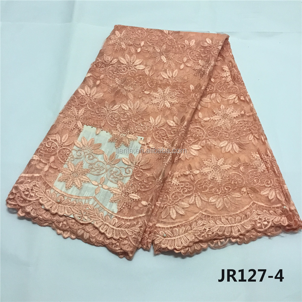 JR127-4 So lovely peach color african french net lace 5 yards free shipping фото