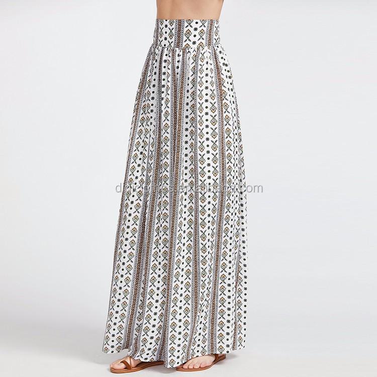 00e938b17 Diseño hermoso al por mayor faldas largas vacaciones estilo adornado  impresión pretina ancha gasa ...