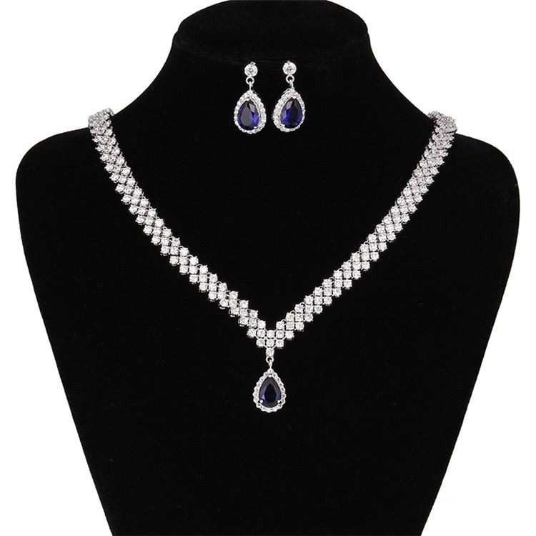 Top grade custom design blue crystal teardrop shape luxury beauty ladies crystal jewelry
