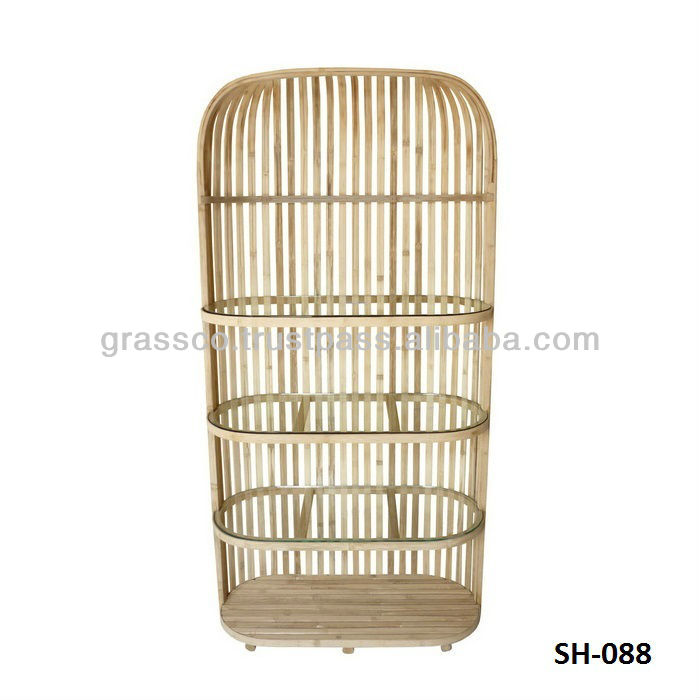 Natural bamboo shelves with glass trays - Bamboo furniture (08088)