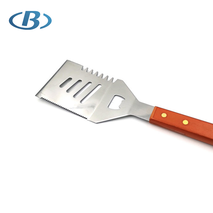 Factory Direct Price High Quality Long Stainless Steel BBQ Spatula with Wooden Handle