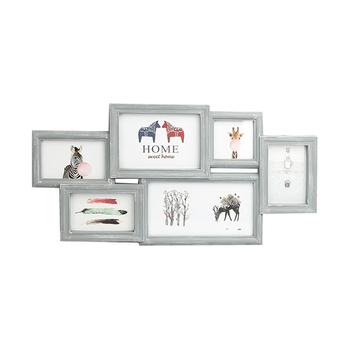 6 Opening Wall Hanging Photo Frame Family Theme Photo Sockets White ...