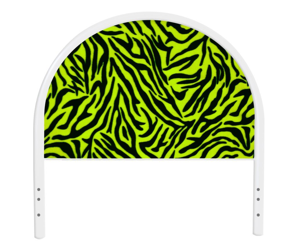 The Furniture Cove New Twin Size Children's Youth White Metal Headboard with Custom Green Zebra Print Upholstered Headboard
