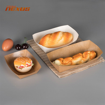 Custom printed biodegradable disposable 1 lb 3 lb food paper tray boat +cardboard brown kraft paper snack food trays