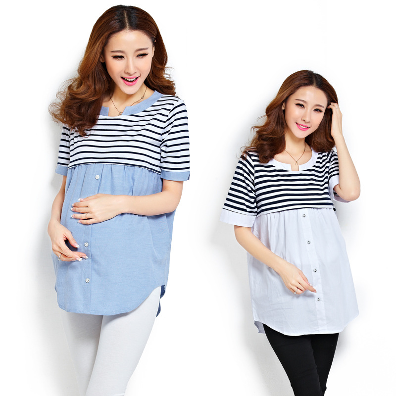 4c13a1604f31 Get Quotations · 2015 cute maternity clothes casual maternity Breastfeeding  clothing tops + pant denim short sleeves dress for