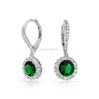 3AAA CZ Emerald Fashion drop silver earring 925 sterling leverback wire 2017