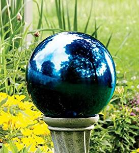 "Plow & Hearth Unbreakable Reflective Garden Gazing Ball - Colored Stainless Steel - 10"" Dia., in Blue"