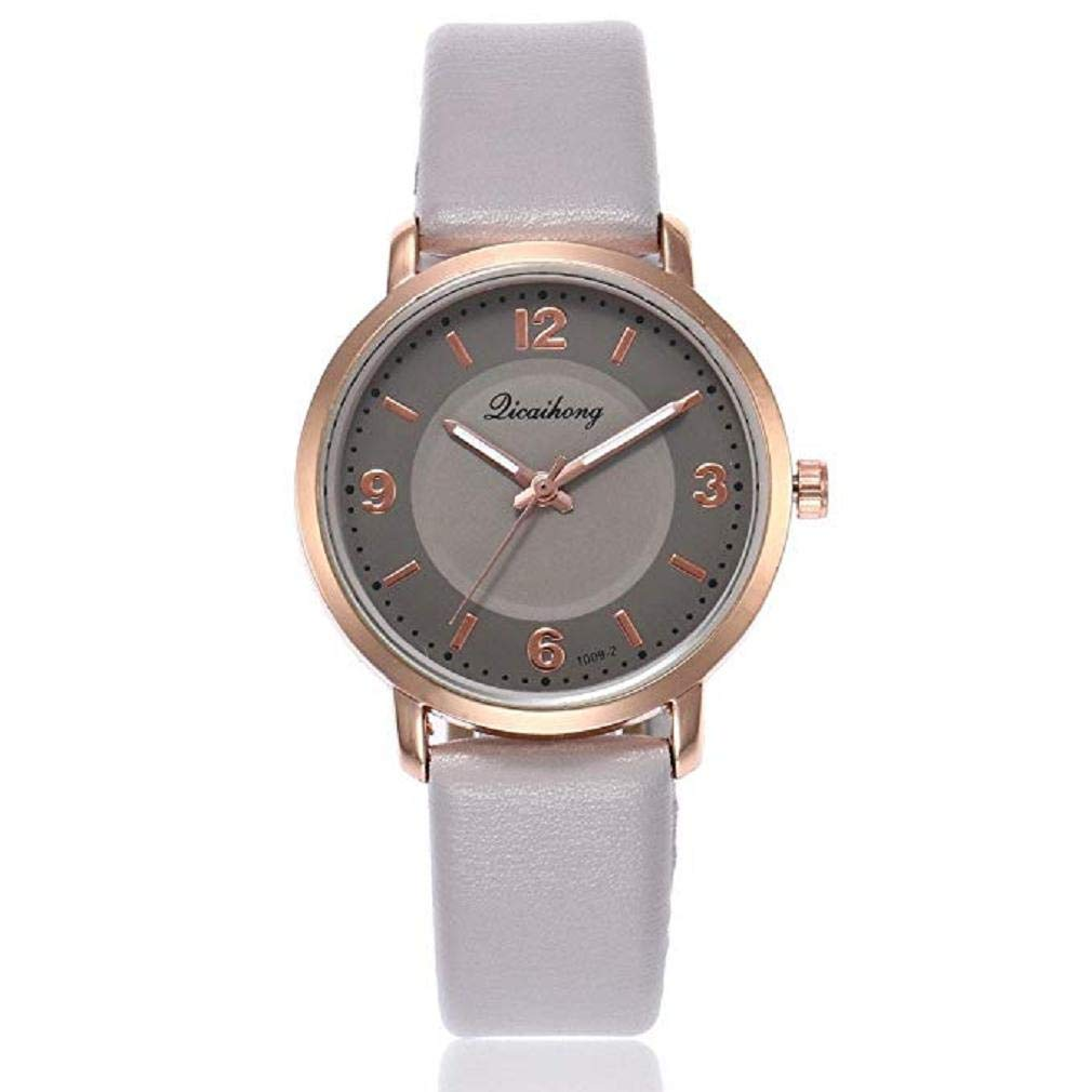 Womens Quartz Watches, Windoson Ladies Casual Two Color Leather Band Round Wrist Watch Teens Fashion Alloy Analog Watches, Women Watches Clearance (Gray)