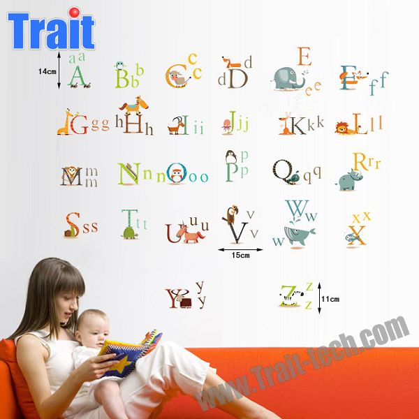 60x90 cm PVC Amovible Enfants L'apprentissage Animal Alphabet enfants Stickers Muraux