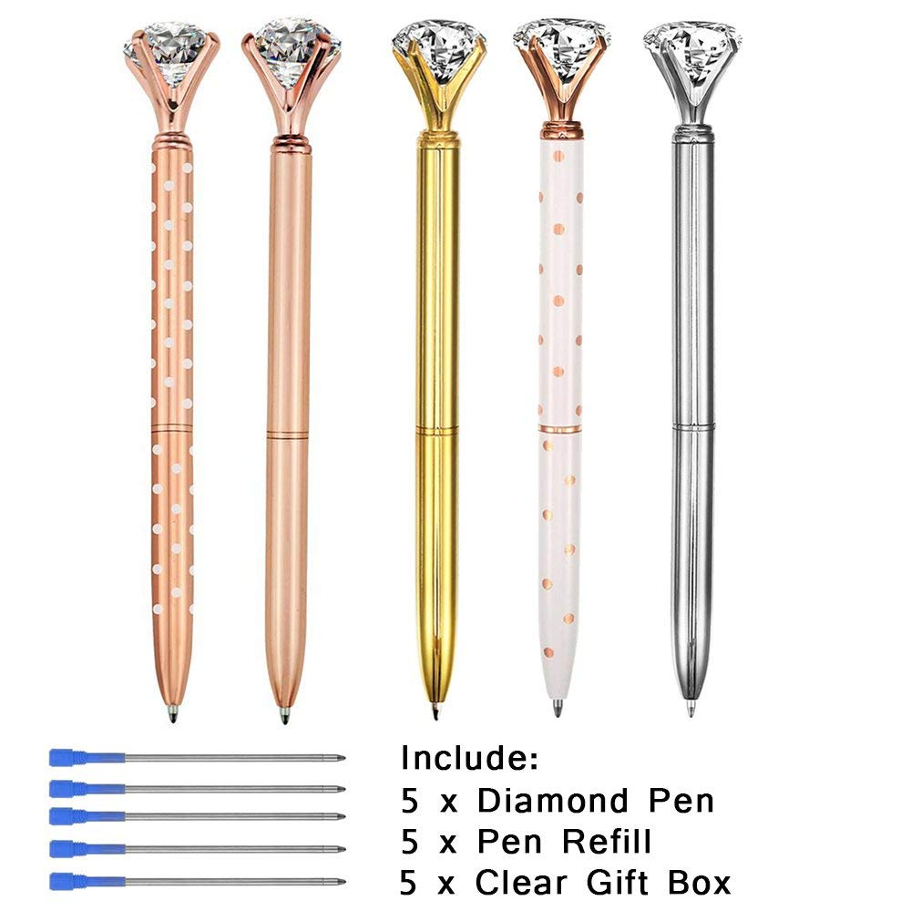 5PCS Big Diamond Pens Rose Gold Pens with Black Ink and 5PCS Diamond Pen Refill Blue Ink,Rose Gold Pen with Big Diamond/Crysta,Metal Ballpoint Pens Rose Gold/Silver/Gold/White-Include 5 Clear Boxes