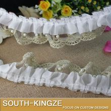 Ruffle Pleated Gauze w/ Fake Pearl Lace Trim 6cm Wide DIY CRAFT Great For Dress Tee Decro - -YC