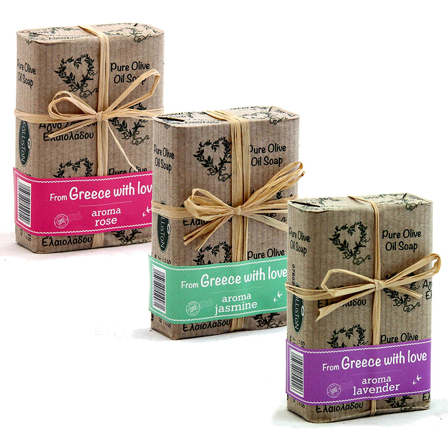 Kalliston | Olive Oil Soaps | Rose, Jasmine, & Lavender Aromas | Bows Gift Set | All Natural Soaps | Made in Ancient Crete, Greece
