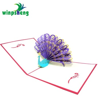 paper craft peacock 3d laser cut pop up new year greeting card