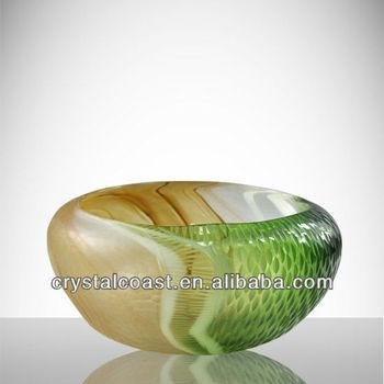 Flat Round Cut Murano Glass Bowl Amber Chocolate White Green