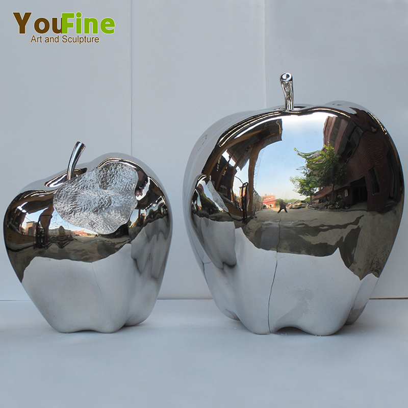 Outdoor rvs apple sculptuur voor decor