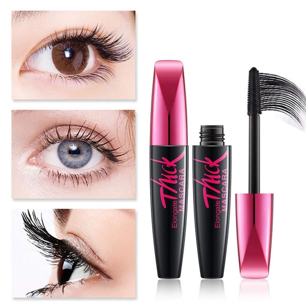 Black Mascara Makeup Silk Fiber Set Eyelash Lengthening Makeup 4D Mascara Waterproof Cosmetics 2Pcs/Set by Aoile