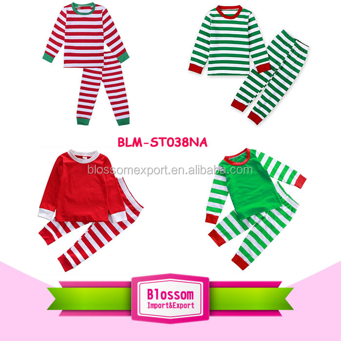 100 Cotton Pajamas Long sleeve girl Clothes plain white top body matching red stripe pants / cuff wholesale Christmas pajamas