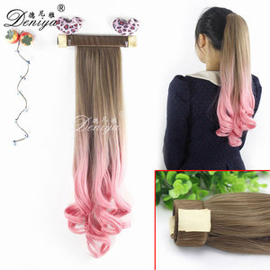 Claw Clip Ponytail Hairpieces Ombre Synthetic Fiber Weave Ponytails Hair Wigs Heat Resistant Fiber Ponytail