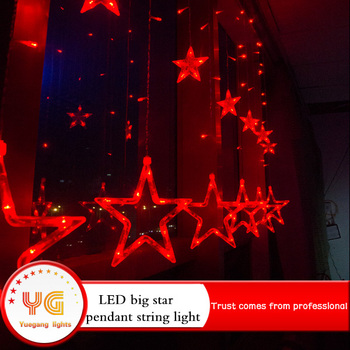 New Design Red Star Shape Ip65 Led Curtain Light String For Holiday Christmas Decoration With Ce
