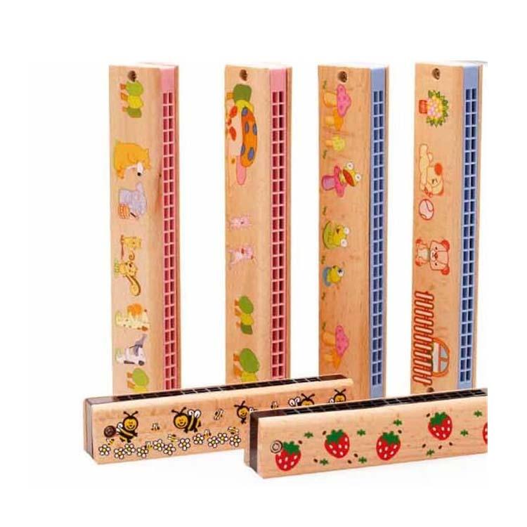 FQ العلامة التجارية بالجملة حار بيع جديد style16/24 ثقوب الاطفال الكرتون مثيرة للاهتمام خشبية صغيرة لوني هارمونيكا