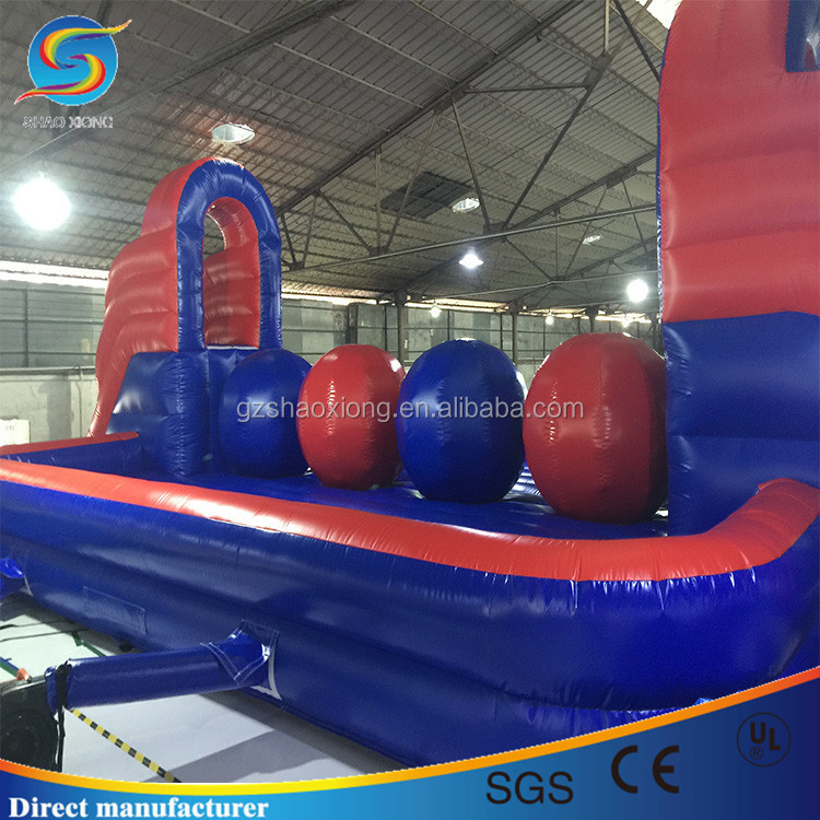 Cheap price inflatable obstacle course wipeout big ball challenge