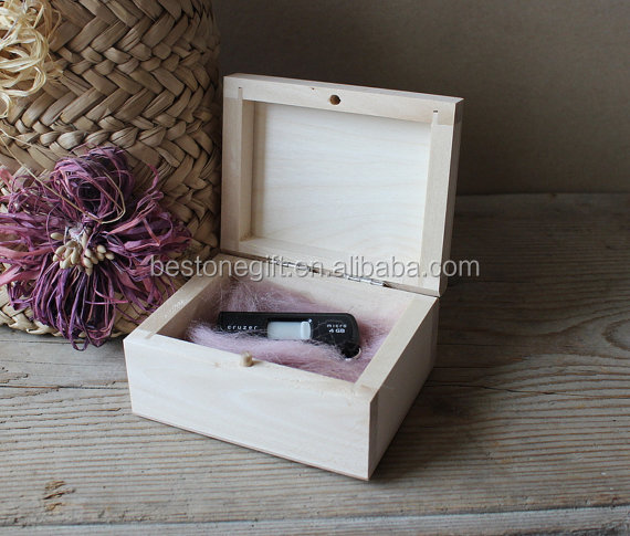 Natural color solid small wood usb storage boxes