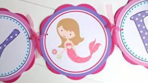 Mermaid Happy Birthday Banner - Mermaid Birthday Banner