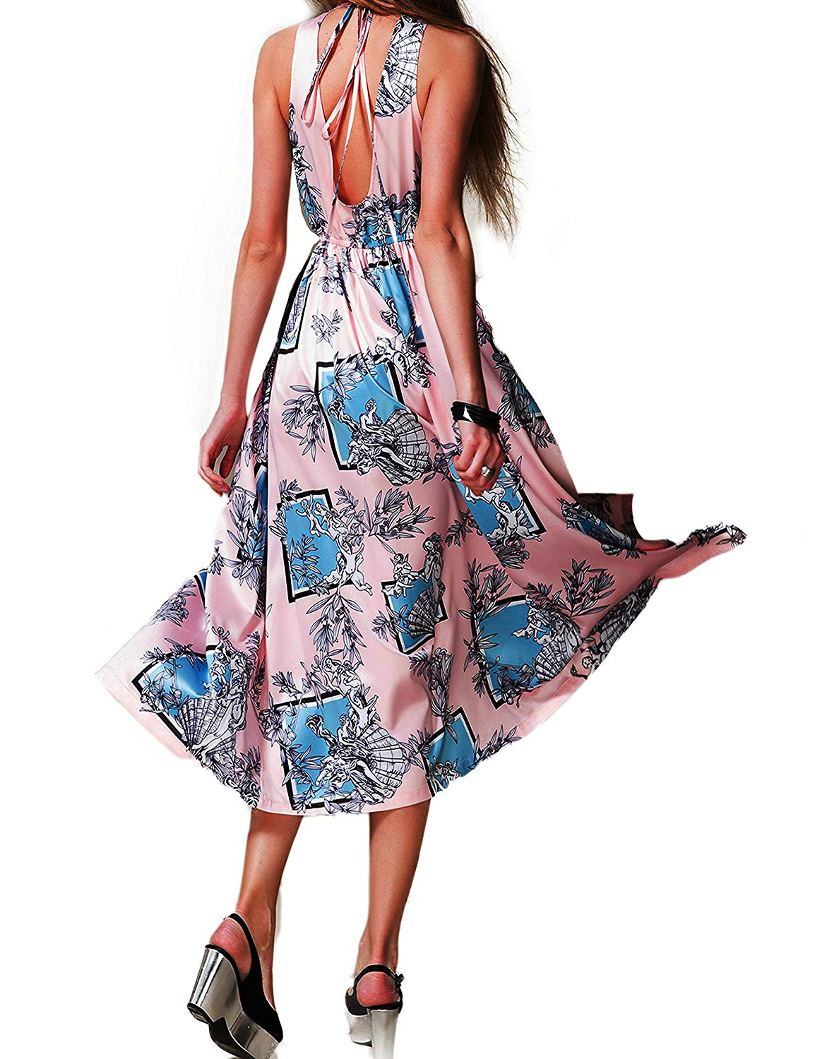 Get Quotations · Yataixin Women s Halter V Neck Split Backless Prom Party  Floral Print Flowy Shift Casual Maxi Dress f93401743
