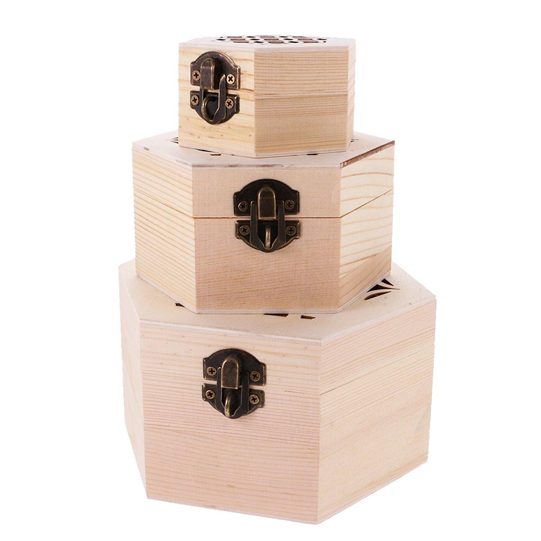 Jili Online Hexagon Plain Wooden Jewellery Case Storage Box DIY Craft Kids Adult Memorial Keepsake 3-piece