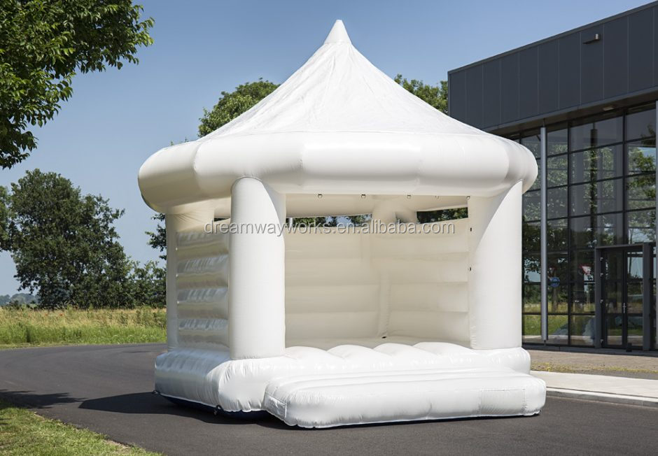 inflatable white bouncer, inflatable white bouncy with curtain and flowers, inflatable white castle for wedding