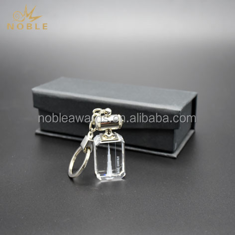 Personalized LED Light 3D Laser Engrving Crystal Key Chain