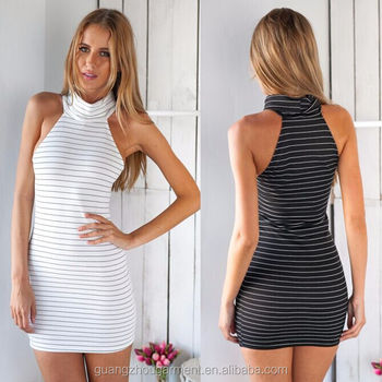 Womens Summer Off Shoulder Turtleneck White Black Striped Casual