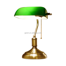 Antique Desk Lamps Bronze Iron Glass Green Banker Table Lamp
