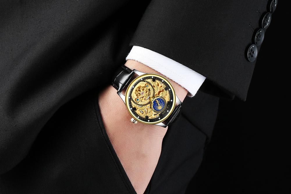 Leather Mechanical Automatic Self-Wind Watch Men Business Tourbillon Moon Phase Skeleton Wristwatch Relojes Hombre
