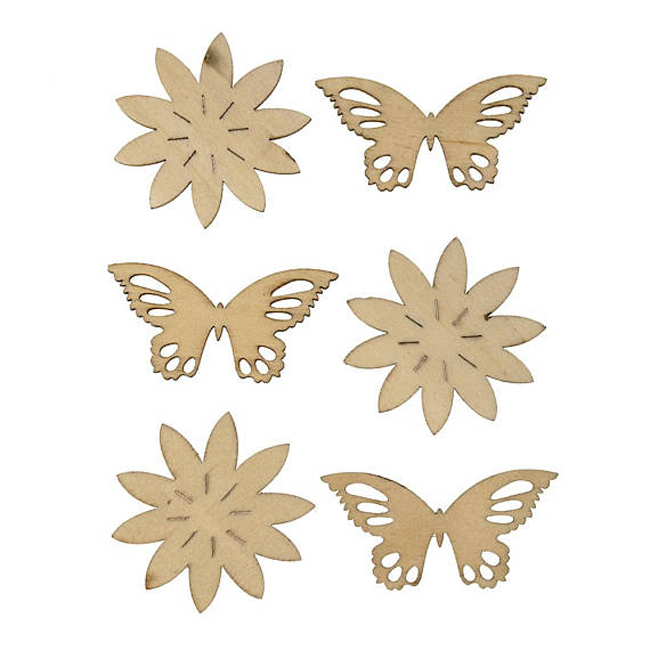 China supplier Custom Colorful laser cut wood Butterfly pieces