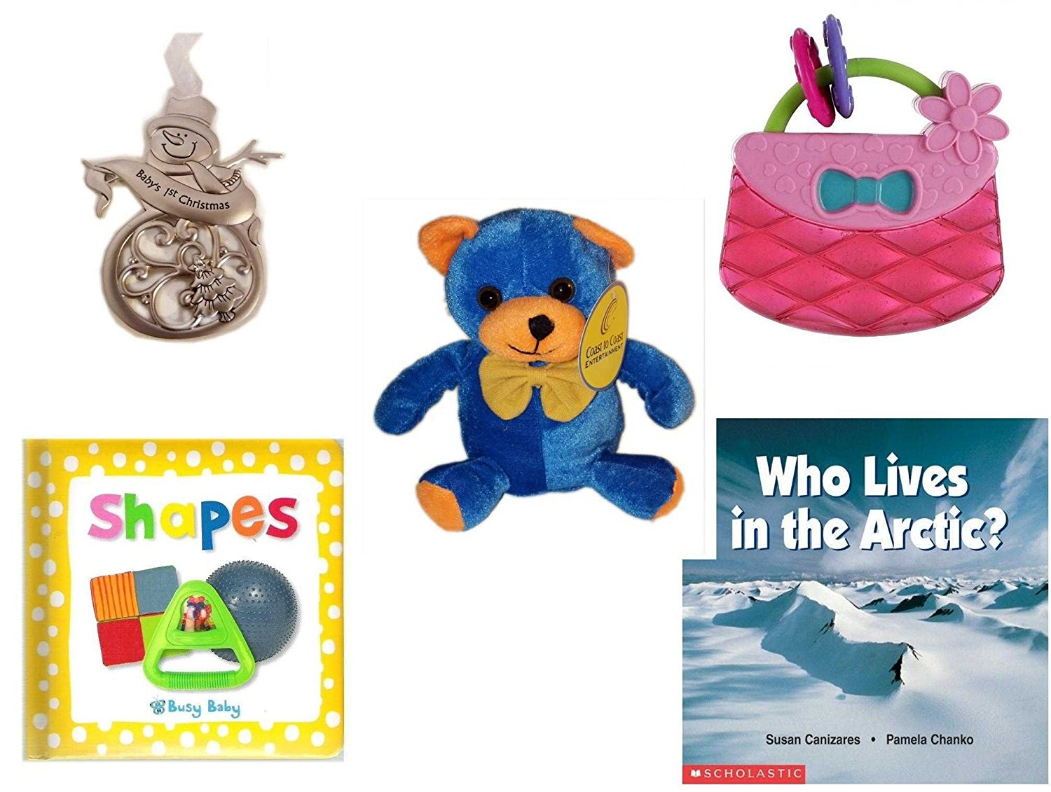 "Children's Gift Bundle - Ages 0-2 [5 Piece] - Ganz Baby's First Christmas Pewter Snowman Ornament - Bright Starts Pretty in Pink Carry Teethe Purse - Blue & Orange Bear 7"" - Shapes: A Busy Baby Boar"