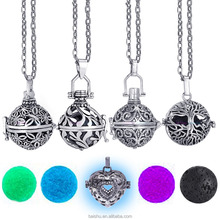 Felt Ball Lava Stone Aromatherapy necklaces Perfume Essential Oil Vintage Glow Necklace Diffuser Locket Necklace