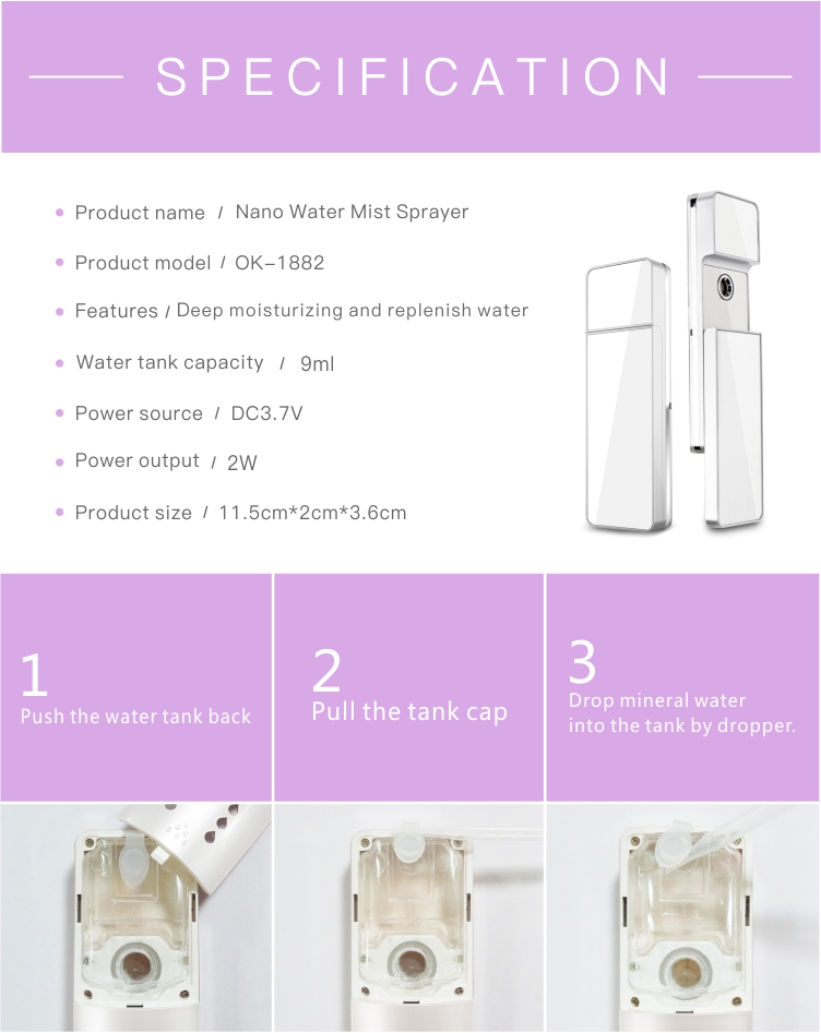 Portable  Cold Mist Skin Care Products Nano Facial Mist Sprayer