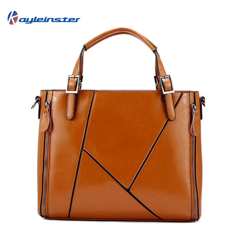 HOT 2015 100% Guaranteed Genuine Leather Women Handbag Fashion Brand Leather Shoulder Bag Geometries Patchwork Women Bag Tote